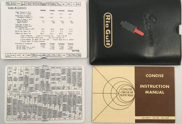 Juego completo con regla (reverso con cuadrado, cubo y capacidad), funda, tablas (peso y longitud) y manual de instrucciones, hecho en Japón