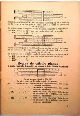 Página con los modelos 398 a 319 y las reglas planas modelos 373 a 353