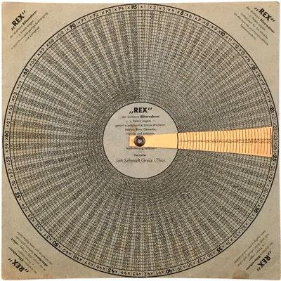 Anverso ejemplar 1: Tabla de multiplicación REX de Joh. Schmidt, productos hasta 30x75, 20 cm diámetro