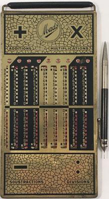 Ábaco de ranuras MADS, fabricado en Bélgica, s/n 72334, año 1920, 12x24 cm