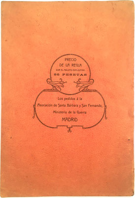 Contraportada del libro-folleto, donde se indica el precio de venta de la regla de cálculo junto con el folleto explicativo para su uso