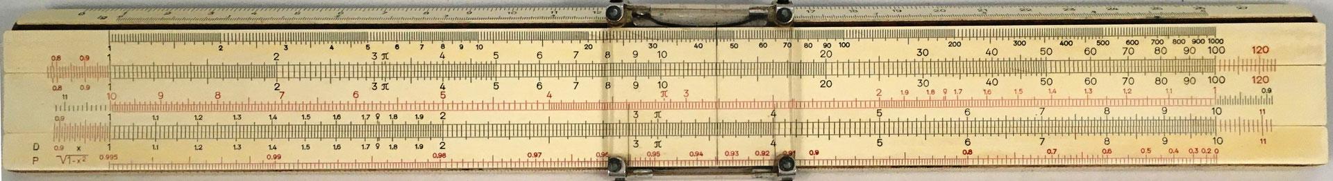 Regla FABER-CASTELL 1/54, regla de cálculo en español, año 1970, 30x4 cm