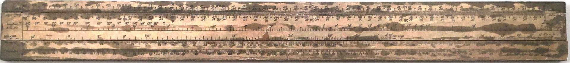 Prototipo hecho en metal para la Primitiva Regla Topográfica española marca CONDE (modelo 1), 1650 gr de peso, 43x4.5 cm