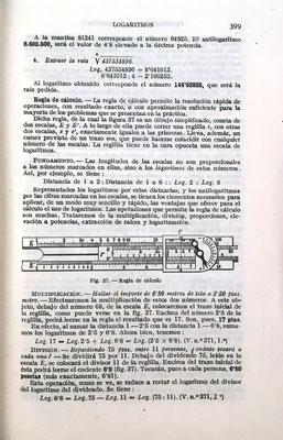 Ambos textos tienen prácticamente el mismo contenido que incluye un breve estudio de la regla de cálculo (páginas 399 a 403). La imagen corresponde a una A. W. Faber