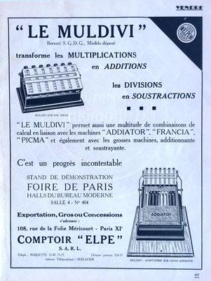 """Página publicitaria del ábaco de ranuras """"ADDIATOR"""" en combinación conjunta con el aparato neperiano """"MULDIVI"""""""