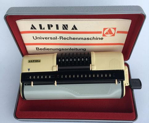 Calculadora mecánica ALPINA, Alemania Federal, año 1961, nº serie 6655