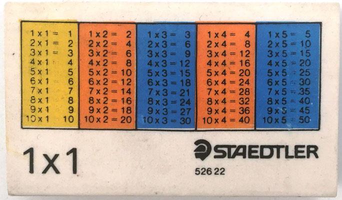 Anverso goma de borrar STAEDTLERT 52622, tablas del 1 al 5, 6.5x4 cm