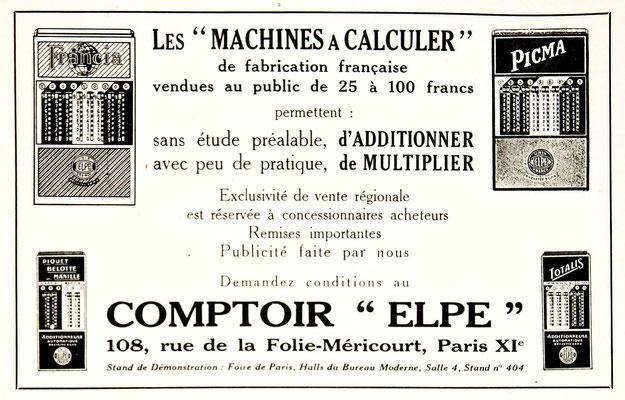 Página publicitaria de las diferentes calculadoras ELPÉ Unis France