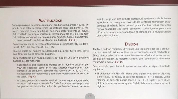 Página 4 del folleto de instrucciones relativa a la multiplicación y a la división