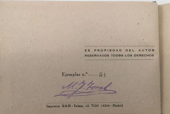 Volúmen II de PRÁCTICAS CON LA REGLA DE CÁLCULO de FERNÁNDEZ TORAL, ejemplar nº 51, año 1942, 228 páginas