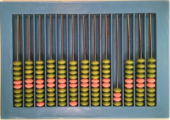 "Ábaco ruso ""schoty"", 13 columnas, con columna para cuartos de rublo, año 1954, 14x10 cm"
