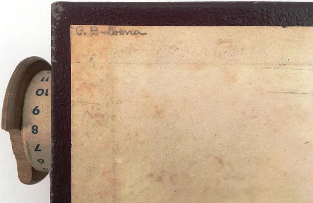 """Anotación en la base del cilindro EUREKA: """"C. Bulbena"""""""