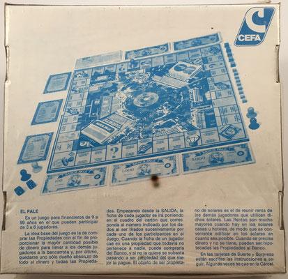 Reverso de la caja de El PALÉ de Cefa-Zaragoza, conservado en su caja original sin estrenar