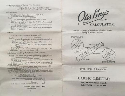 Folleto de instrucciones (desplegable de 8 páginas) que acompaña a la OTIS KING'S Poket Calculator, Modelo L tipo IXb, escalas nº 429 y nº 430
