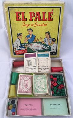 """Juego de compra de propiedades (calles, casas y hoteles) """"El PALÉ"""" con sus accesorios, hacia el año 1960"""