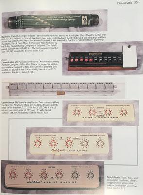 Estuche de escuela Darnley, Denominator A para moneda USA, Denominator B para laboratorio, y tres ejemplares de ábaco de círculos Dial-A-Matic de 4, 5 y 6 círculos respectivamente