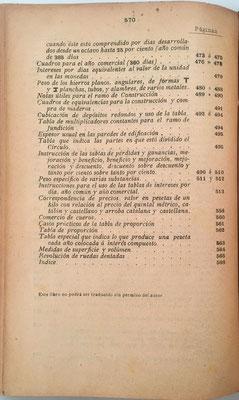 """Al final del índice, en la página 570, se suprimen las breves instrucciones para el uso de la """"Pauta Numérica"""" (y la firma del autor) pero se mantiene el cuadro de la máquina en la contraportada"""