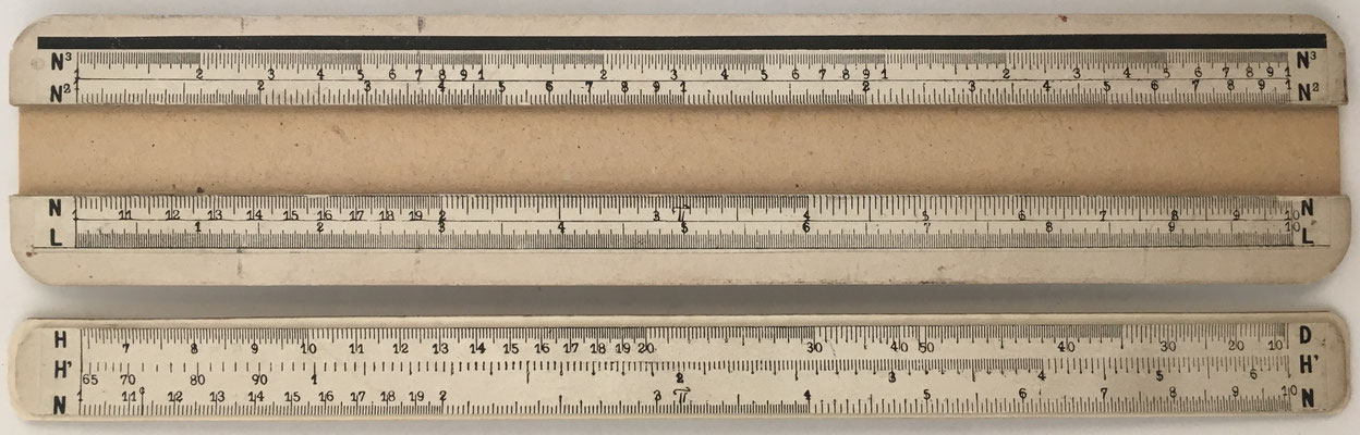 Sistema ALCAYDE, regla de cálculo para estudio, cartón, 25x5 cm