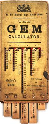 Ábaco de ranuras The GEM Calculator, para moneda británica antigua  (libras, chelines, peniques y cuartos de penique), patentado por J. Guthrie en 1890 (patente nº 15062), Her Majestg's Royal Letters Patent, fabricado en Inglaterra, año 1880, 10.7x22 cm