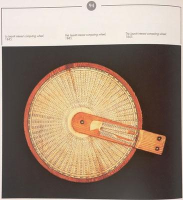 Analiza también los círculos de cálculo para porcentajes e intereses, como este del año 1845