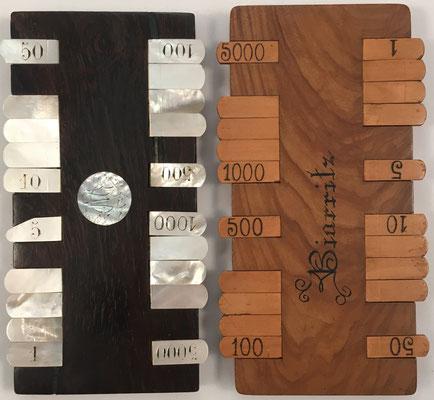 Pareja de anotadores de puntuación para el juego de cartas  BEZIQUE, sin s/n, 14x7.5 cm