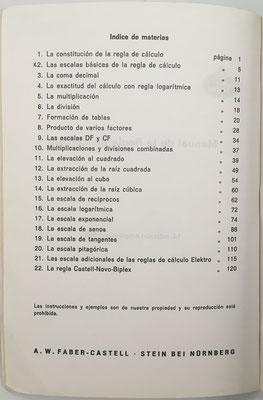 Índice del Manual de la regla de cálculo.