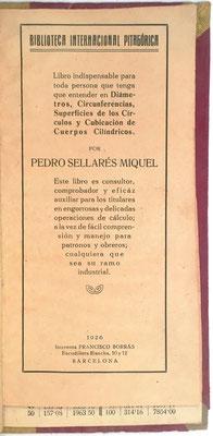 Libro para el Cálculo de Superficies y Volúmenes, Pedro Sellarés, 40 páginas, año 1926, 11x21 cm