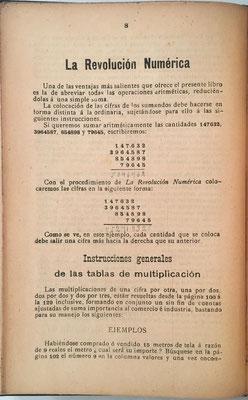 Contiene 247 tablas para la multiplicación que permiten productos hasta 9x10000. El libro contiene también 100 cuadros especiales, incluidos los referidos a la realización de divisiones