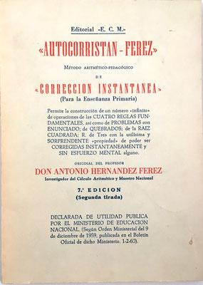 Libro AUTOCORRISTÁN FÉREZ, 2ª tirada de la 7ª edición, Antonio Hernández Férez, 120 páginas, año 1964, 15x21 cm