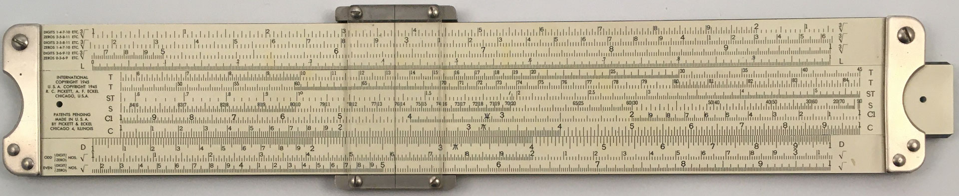 PICKETT modelo 1 (Deci Point), s/n 6381, primera regla fabricada por R.C. Pickett & A.F. Eckel en Chicago (USA) año 1945, 30.7x5,2 cm