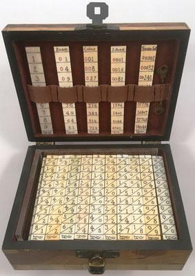 Ábaco multiplicativo de NAPIER, 105 varillas planas de 1 cara, alojadas en su caja