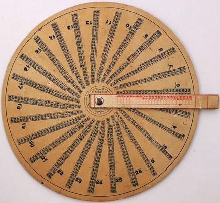 """Anverso: Disco Pitagórico """"EL INFALIBLE"""", sencillo y práctico, hacia 1920, 19 cm diámetro"""