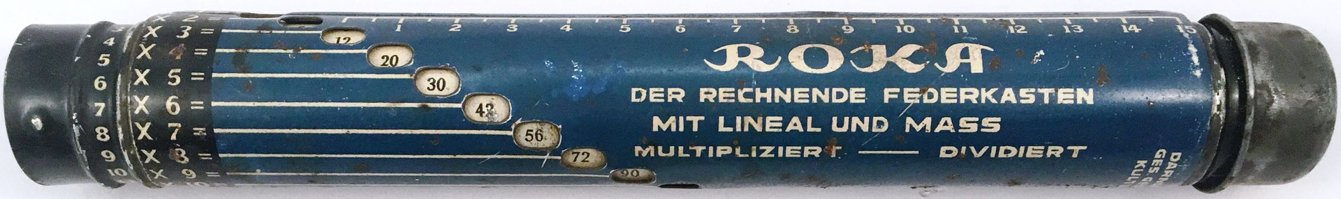 Estuche para lapiceros ROKA, hecho por Solely Manufacturing Co. (Darnley's patent) en Alemania, año 1920, 23 cm largo x 3 cm diámetro