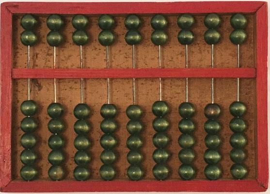 """Ábaco chino """"son pan"""" de Fu-Chau-Fa, base 16 o hexadecimal para operar con libras (jin) y onzas (liang), 1 jin=16 liang, fácilmente adaptable a base 10, 9 columnas, 15x11 cm"""