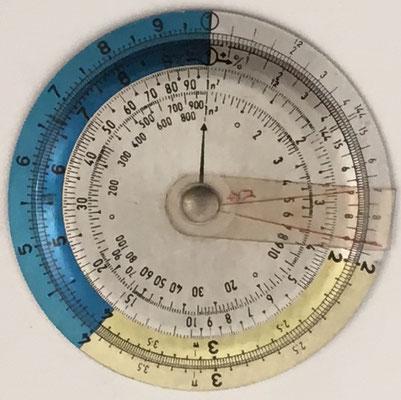 Regla de cálculo circular, 7 cm diámetro