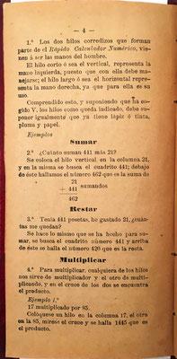 Página 4 del librillo de instrucciones para el uso de El Rápido Calculador Numérico