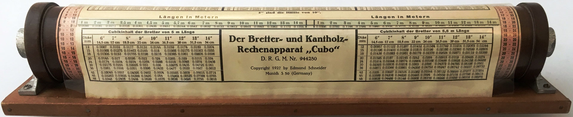 Multilplicador CUBO (Der Bretter und Kantholz Rechenapparat), Edmund Schneider, Munich, año 1927, 38x7x6 cm