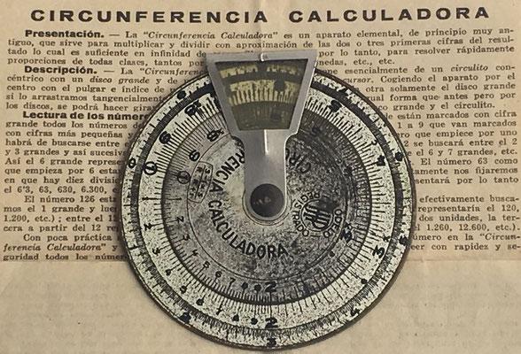 Círculo de cálculo CIRCUNFERENCIA CALCULADORA metal, 7 cm diámetro