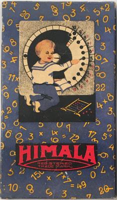 Caja de la calculadora educativa HIMALA, año 1922, 18x10 cm