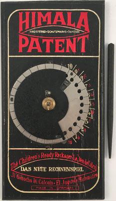 Calculadora educativa HIMALA-FUNKE, D.R. Patent No. 335921, año 1920, 17x9 cm