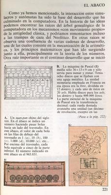 Ábaco chino (suan-pan), máquina de Blaise Pascal (Pascalina)  de ocho discos y mecanismo interior de ruedas dentadas de ésta última
