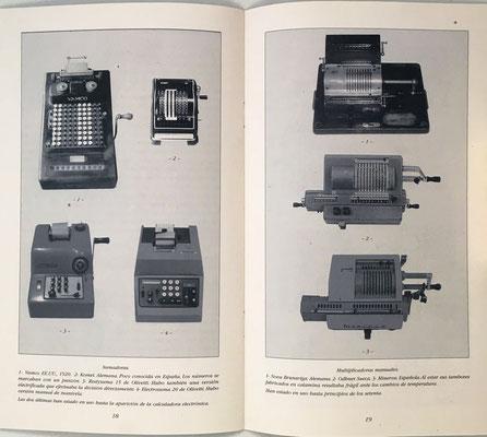 Páginas 18 y 19 del catálogo: calculadoras mecánicas