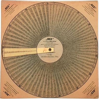 Anverso ejemplar 2: Tabla de multiplicación REX de Joh. Schmidt, productos hasta 30x75, 20 cm diámetro