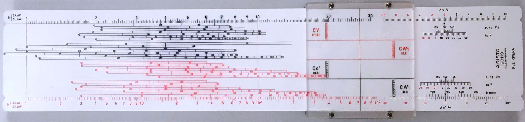 Reverso de la regla de artillería ARISTO 90119