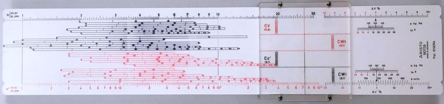 Reverso de la regla de artillería ARISTO 90119  para obús 105/26 mm