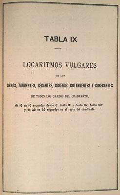 Tablas de logaritmos vulgares de los senos, cosenos, tangentes, cotangentes, secantes, y cosecantes de todos los grados del cuadrante  (de 0ª a 44º)