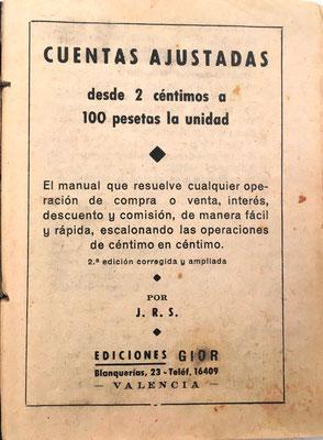 El libro CUENTAS AJUSTADAS contiene unas breves instrucciones de uso y 9 tablas para la reducción de kilos a arrobas. Contiene además una relación de ferias y fiestas de España