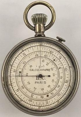 """Cercle a calcul CALCULIGRAPHE H. C., año 1878, """"Paris"""" debajo de H.C., 5.5 cm diámetro,  (precio estimado: 450€)"""