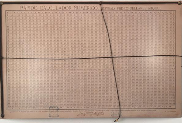 El Rápido Calculador Numérico, cuadro para mesa de despacho, hecho por Pedro Sellarés Miquel en 1906, Barcelona (España), 54x35 cm