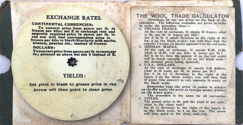Reverso de la regla THE WOOL TRADE  e instrucciones de uso